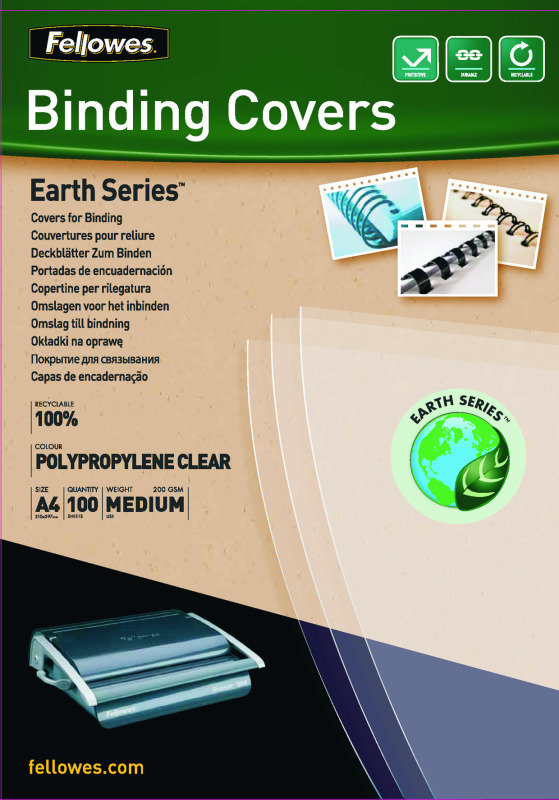 Fellowes Earth Binding Cover Clear 100 Pack