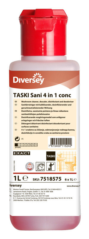Image of Diversey Disinfectant and Descaler Concentrate 1 Litre (Pack of 6)