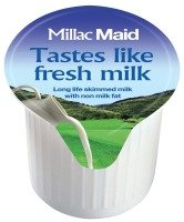 Millac Maid Full Fat Semi-Skimmed Milk Pots - 120 Pack