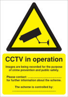 Extra Value A5 PVC DPA Compliant Warning Sign - CCTV