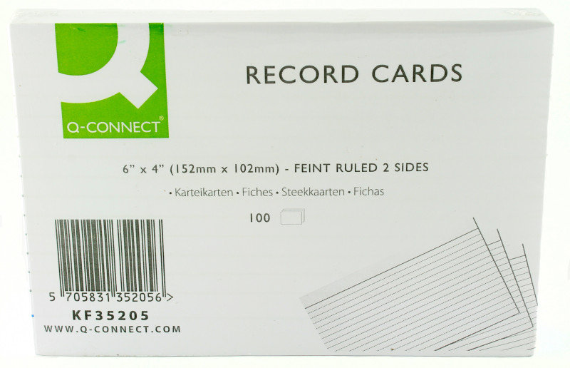 Q CONNECT RECORD CARD 6X4 FT WHT P100