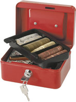 Q Connect 6 Inch Cash Box - Red
