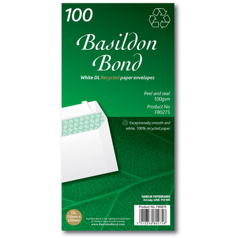 Image of BASILDON BOND DL WLT 100G WHITE PK100