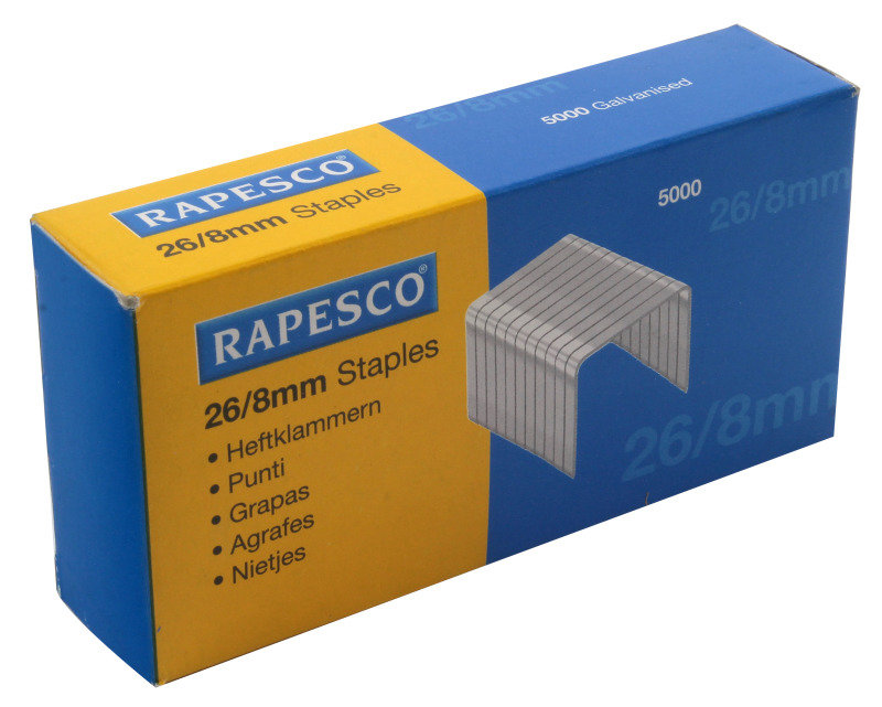 Rapesco 26/8mm Galvanised Staples