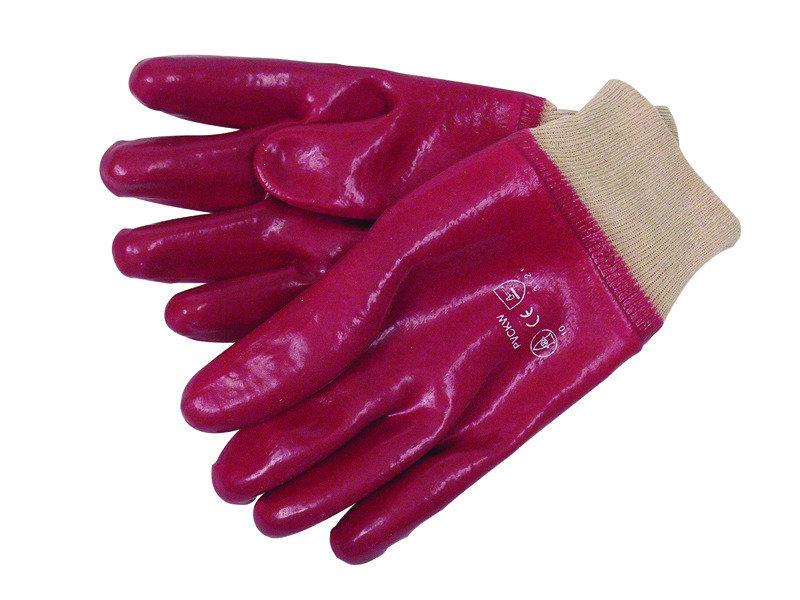 Image of JSP ACG317-150-600 Heavy Duty Red PVC Knitwrist Glove - Size 10