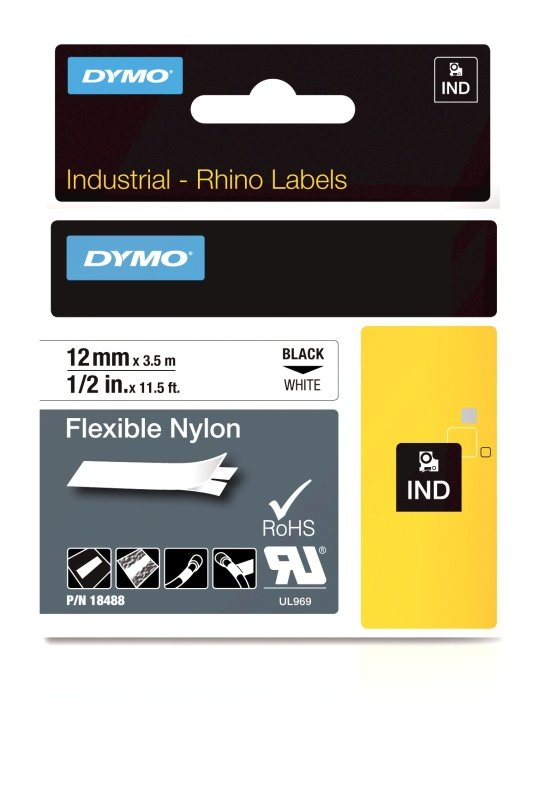DYMO Flexible Nylon Tape - Black on White