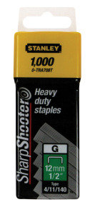 Stanley SharpShooter Heavy Duty 12mm 1/2in Type G Staples 1-TRA708T Pack of 1000
