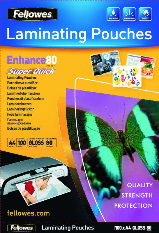 Fellowes Super Quick A4 Laminating Pouches 160 Micron (Pack of 100)