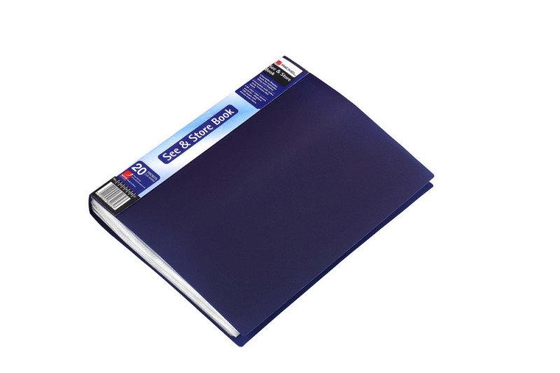 REXEL DISPLAY BOOK A4 20PKT BLUE 10555