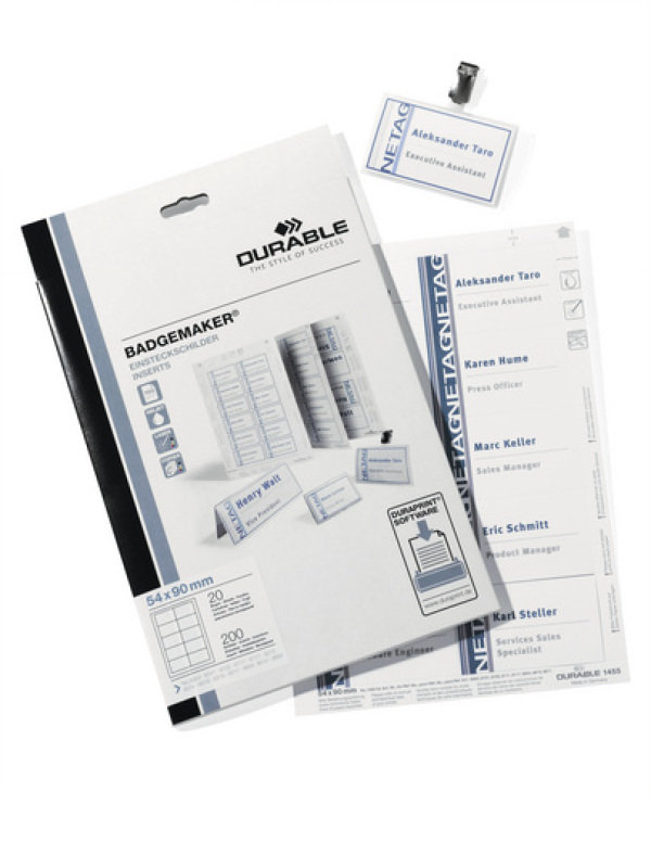 Durable 240 Badge Inserts 40X75MM