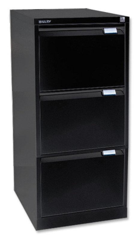 Bisley Black Three-Drawer Filing Cabinet