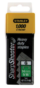 Stanley SharpShooter Heavy Duty 10mm 3/8in Type G Staples 1-TRA706T Pack of 1000