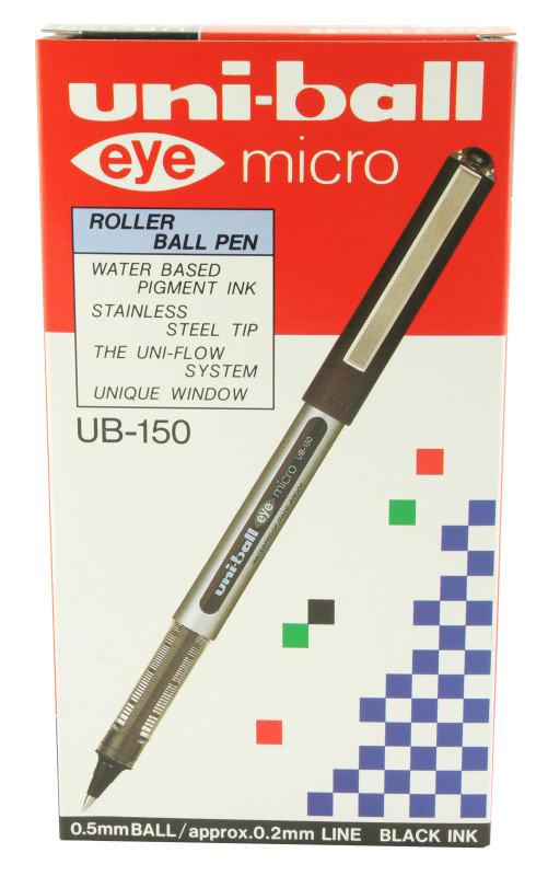 Uniball Micro Eye 0.2mm Black Ub150 - 12 Pack