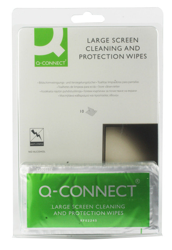 Q Connect Large Screen Cleaning Wipes - 10 Pack