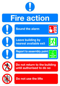 SIGNSLAB A5 FIRE ACTION SYMBOLISED