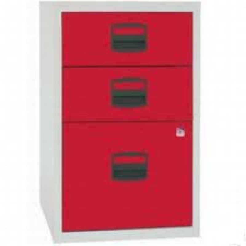 Image of Bisley A4 Home Filer 3 Drawer Lockable Grey and Red
