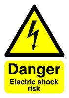 SIGNSLAB A5  DANGER ELECT SHOCK RISK PVC