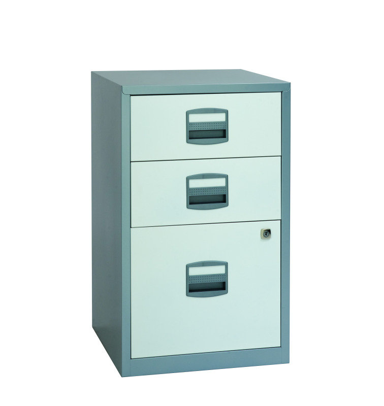 Image of Bisley A4 Home Filer 3 Drawer Silver/White