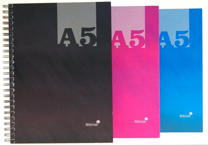 Silvine A5 Cbnd Twin Wire Notebook Asst - 12 Pack