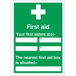 Signslab First Aid and Your First Aiders Are PVC Sign - 600x450mm