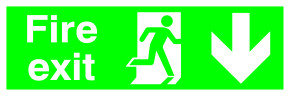 Safety Sign Niteglo Fire Exit Running Man Arrow Down 150x450mm PVC