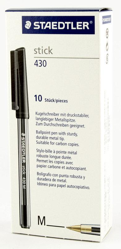 Staedtler Stick Bpen Med Black 430-m9 - 10 Pack