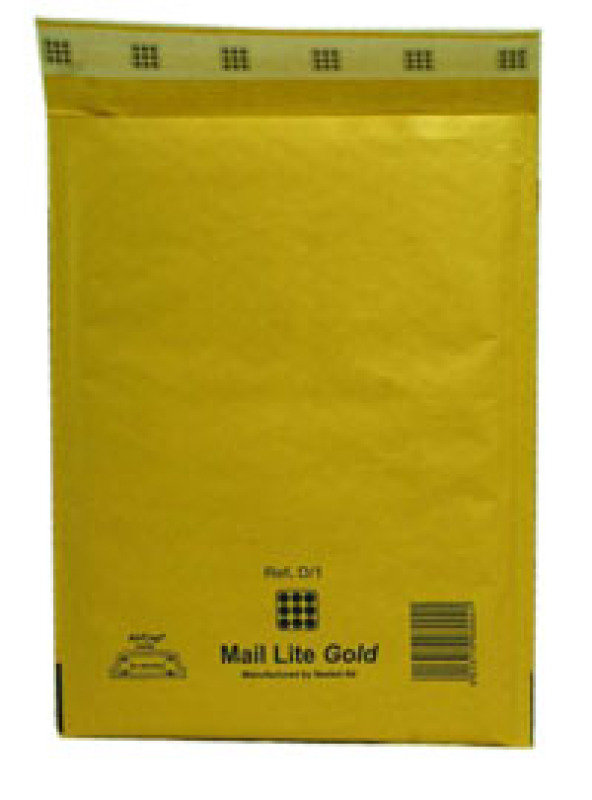 MAIL LITE GOLD BL 180X260MM PK100 MLGD1