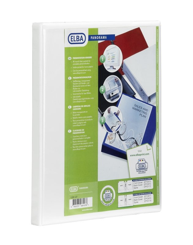 Elba Panorama A4 Presentation Binder 2D-Ring 65mm White