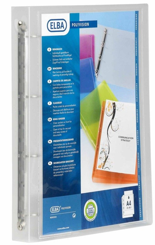 Elba Polyvision 4r Binder 25mm A4 Clear - 12 Pack