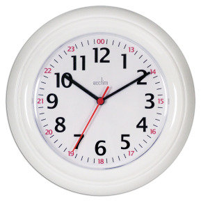 Acctim Wexham White 24 Hour Plastic Wall Clock