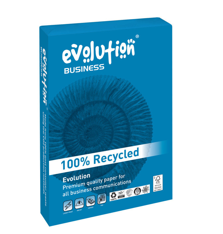 Image of Evolution Business A4 Recycled Paper 90gsm White Ream (Pack of 500)