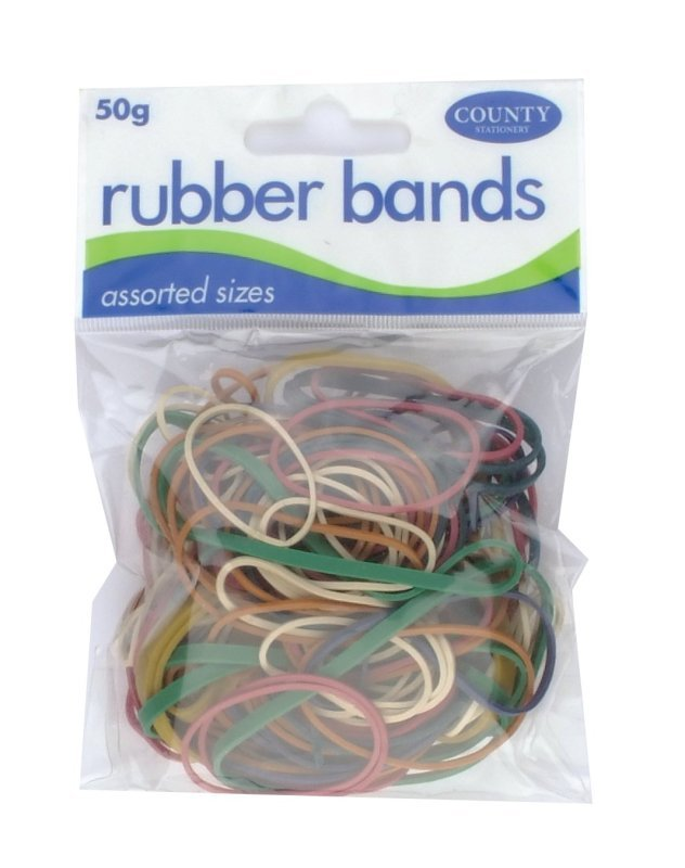 Image of County Rubber Bands Coloured 50gm