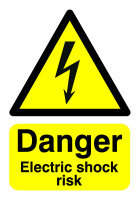 Extra Value A5 Self Adhesive Warning Sign - Electric Shock