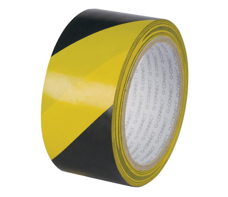 Qconnect Hazard Tape 48mmx20m Yllw Blk - 6 Pack