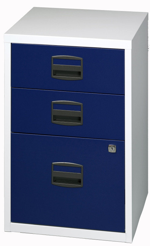 Image of Bisley A4 Home Filer 3 Drawer Lockable Grey and Blue