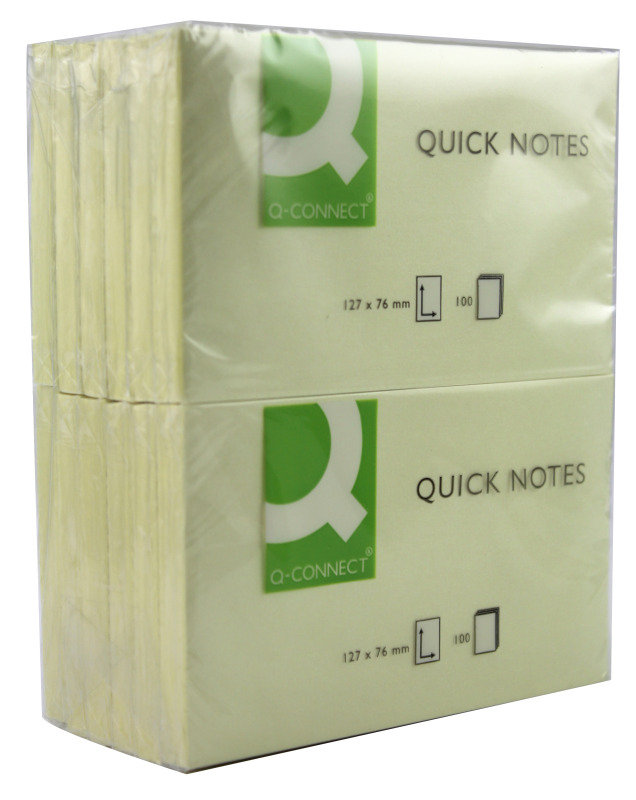 Q Connect Quick Sticky Note 75x125mm Ylw - 12 Pack