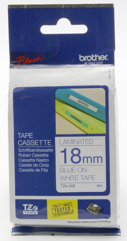 Brother TZe 243 Laminated adhesive tape- Blue on White