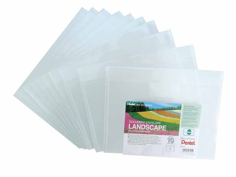 Pentel Recy Doc Envelopes L/scape Clr - 10 Pack