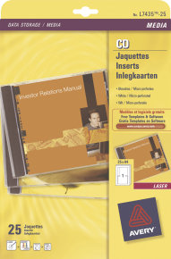 AVERY CD INSERT MATT INKJET WHT J8435-25