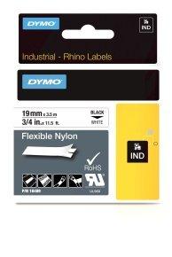 Dymo Rhino Flexible Nylon Label 19mm Black/White