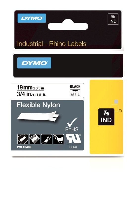 Dymo Rhino Flexible Nylon Label 19mm Black/White