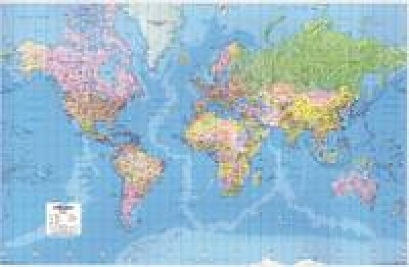 Image of MAP GIANT WORLD POLITICAL MAP LAMIN GWLD