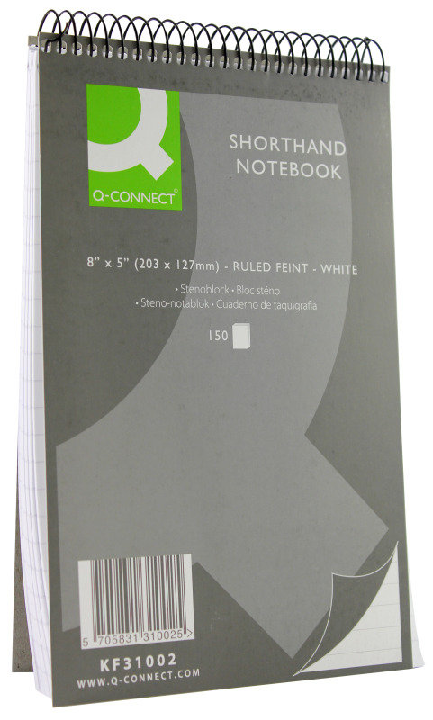 Q Connect Shorthand Notebook 150lf - 10 Pack