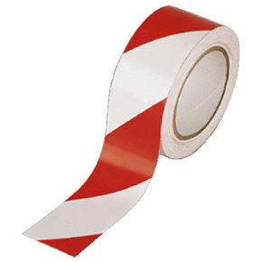 Vinyl Tape Hazard White/red - 6 Pack