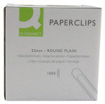 Q-Connect 32mm Plain Paperclips - 1000 Pack