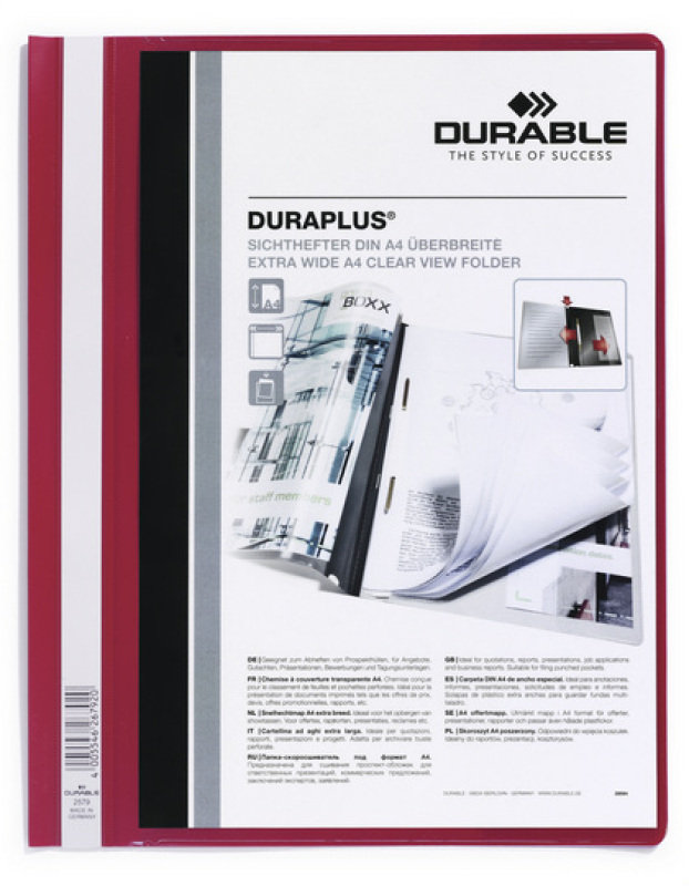 Durable DURAPLUS Quotation Folder A4 Red 25 Pack
