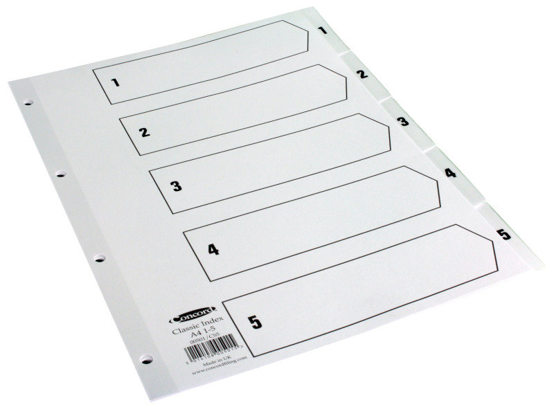 Concord Index 1-5 A4 Clear Tabs
