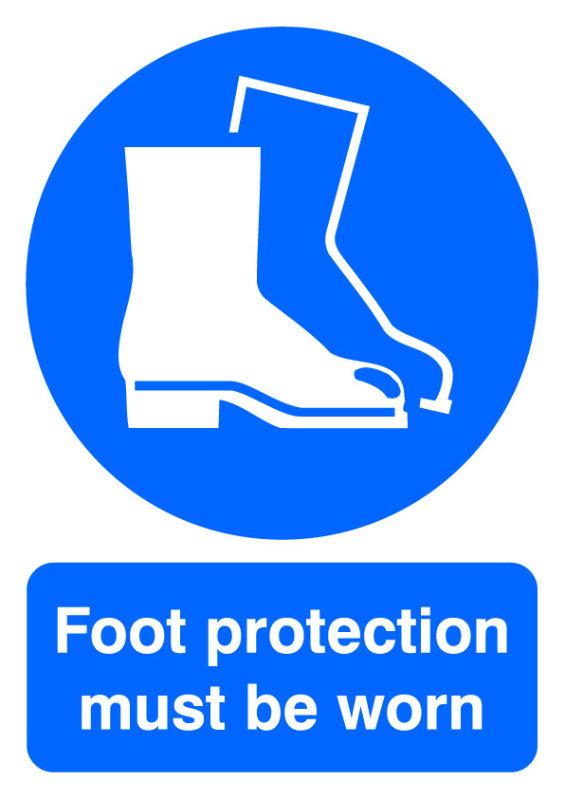 SIGNSLAB A4 FOOT PROTECTION M/B/WORN PVC