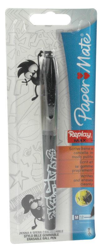 Paper Mate Black Replay Max Ballpoint Pens (Pack of 12)