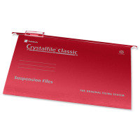 Rexel Crystalfile Classic Suspension File Complete Foolscap Red (Pack of 50)